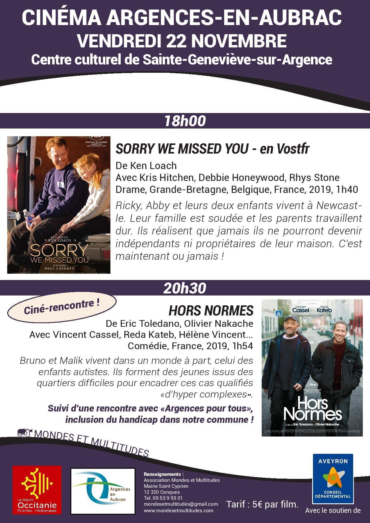 """Séance de cinéma """"Hors normes"""""""